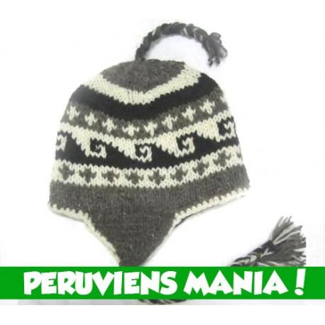 Bonnet péruvien vagues (gris \u0026 blanc \u0026 noir) Variante