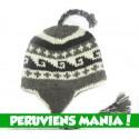 Bonnet péruvien vagues (gris & blanc & noir) Variante