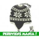 Bonnet péruvien Etoiles (noir & gris & blanc)