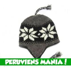 Bonnet péruvien Etoiles (noir & gris foncé & blanc)