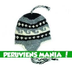 Bonnet péruvien vagues (blanc & gris & noir)