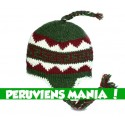 Bonnet péruvien triangles (vert & rouge & blanc)