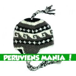 Bonnet péruvien vagues (gris foncé & blanc & noir)