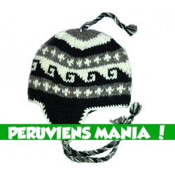 Bonnet péruvien vagues (noir &gris clair & blanc)