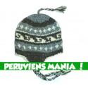 Bonnet péruvien (gris clair & gris foncé & blanc)