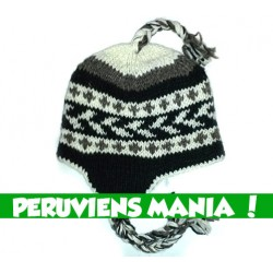 Bonnet péruvien fléché (noir & blanc & gris)