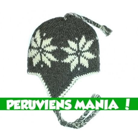 Bonnet péruvien étoiles (gris foncé & blanc)