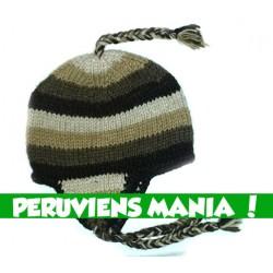 Bonnet péruvien bandes dégradées (marron)