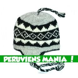 Bonnet péruvien losanges(gris & blanc & noir)