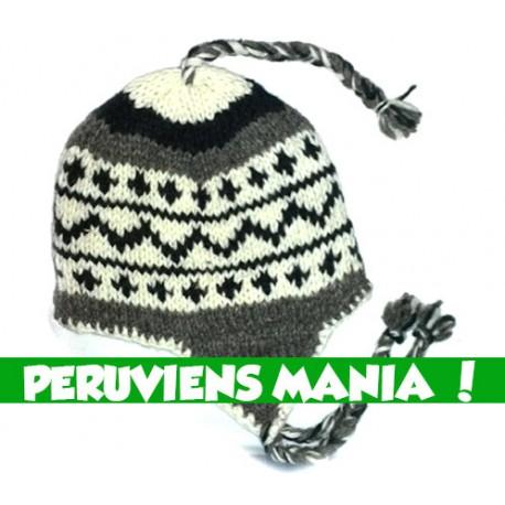 Bonnet péruvien ZigZag (blanc & noir & gris)