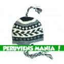 Bonnet péruvien fléché (noir & gris & blanc)