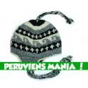 Bonnet péruvien vagues (gris clair & noir & blanc)