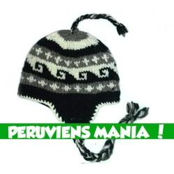 Bonnet péruvien vagues (noir & gris & blanc)