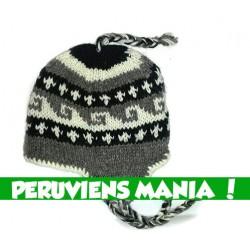 Bonnet péruvien vagues inversées (gris & noir & blanc)