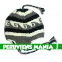Bonnet péruvien vagues (gris clair & blanc & noir)