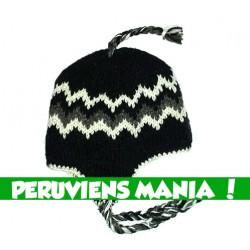 Bonnet péruvien zigzag (noir & blanc & gris)