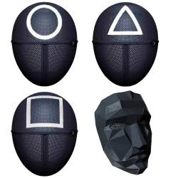 Masque SQUIDGAME du Soldat carré, cercle, triangle, agent..