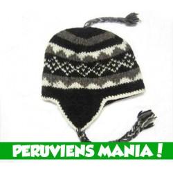 Bonnet péruvien triangles (noir & blanc & gris)