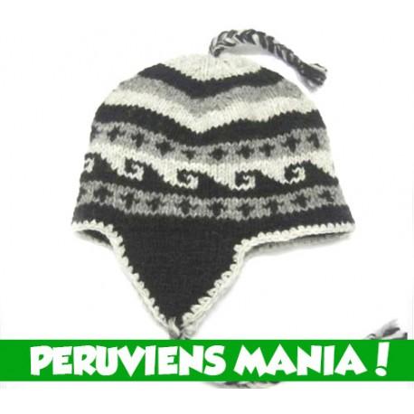 ebc0ff67c9 Bonnet péruvien Noir & Blanc & Gris (Motifs vagues) pour Homme & Femme