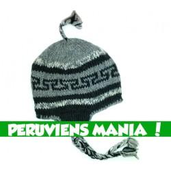 Bonnet péruvien labyrinthe (gris & noir)