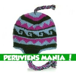 Bonnet péruvien (bleu & rose & gris foncé)