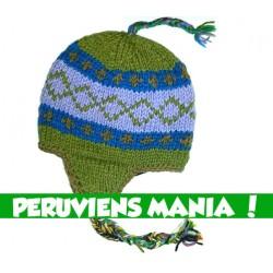 Bonnet péruvien écolo (vert & bleu bicolore)