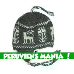 Bonnet péruvien cerfs (gris & blanc)