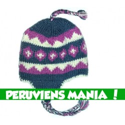 Bonnet péruvien (bleu & rose & blanc)