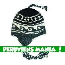 Bonnet péruvien vagues (blanc & noir & gris)