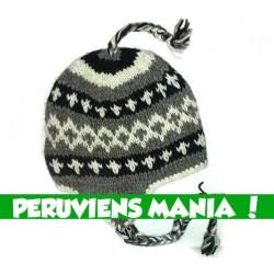 Bonnet péruvien losanges (tricolore blanc & noir & gris)