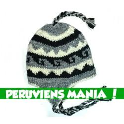 Bonnet péruviens vagues inversées (noir & blanc & gris clair)