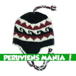 Bonnet péruvien vagues (bleu foncé & rouge & blanc)