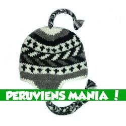 Bonnet péruvien fléché bi-colore (noir & blanc & gris)