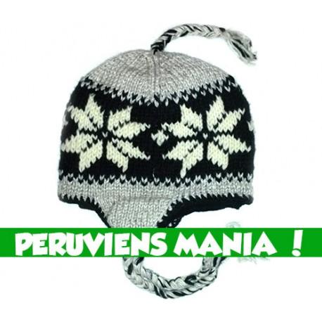 Bonnet péruvien étoiles (noir & gris clair)