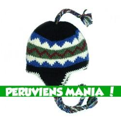 Bonnet péruvien zigzag (noir & bleu & vert & rouge)