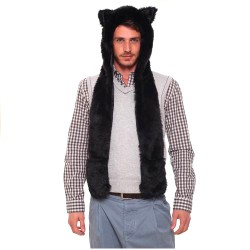 Bonnet fashion loup noir
