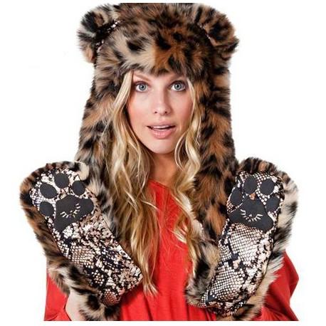 Bonnet léopard fourrure