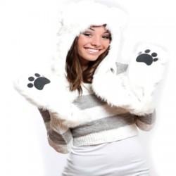 Bonnet ours polaire fourrure