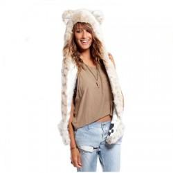 Bonnet léopard blanc fourrure
