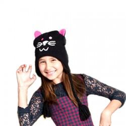 Bonnet chat noir en tricot