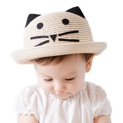 Chapeau de paille oreilles de chat