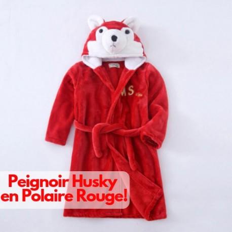 Acheter Robe De Chambre Polaire Rouge Original Peignoir Husky Loup Pas Cher Enfant Bébé Garçon Fille