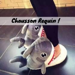 Chaussons animaux rigolos et originaux avec la forme tete d 39 animaux pas cher adulte enfant - Requin rigolo ...
