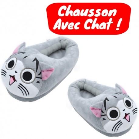ba8928a8a9ddc Acheter Chausson Tete de Chat Gris Mignon