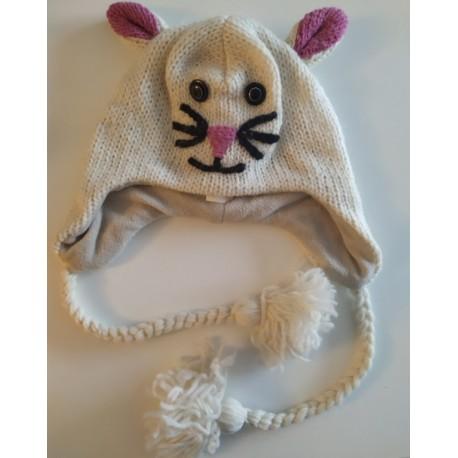 Bonnet tête de chat & oreilles en tricot