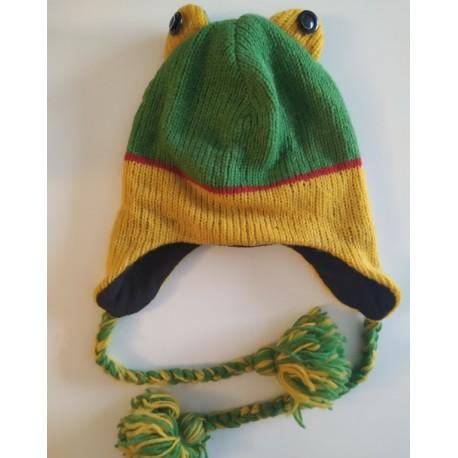 Bonnet grenouille en tricot