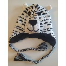 Bonnet tigre blanc tricot