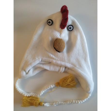 Bonnet coq / poule en tricot