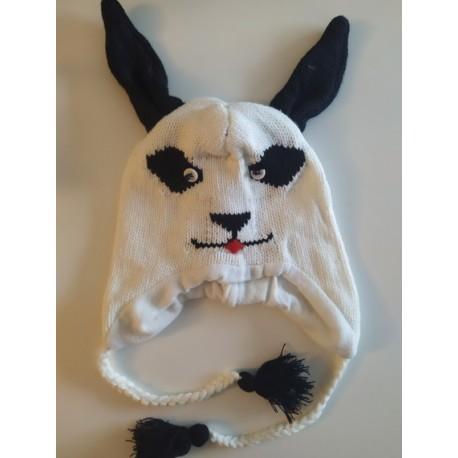 Bonnet avec grandes oreilles de lapin tricot