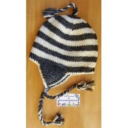 Bonnet péruvien rayé noir et blanc